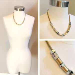Banana Republic gold and silver bolt head necklace